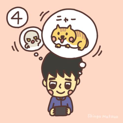 猫に集中するイラスト